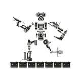 De robot wordt samengesteld uit diverse elektrische gereedschappen Royalty-vrije Stock Afbeelding