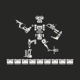 De robot wordt samengesteld uit diverse elektrische gereedschappen Stock Afbeelding