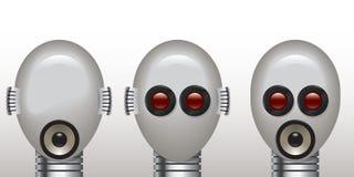 De robot ziet geen kwaad, spreekt geen kwaad, hoort geen kwaad Stock Foto's
