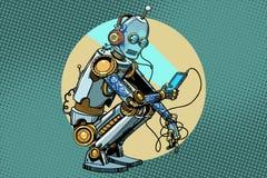De robot zit en leest smartphone vector illustratie