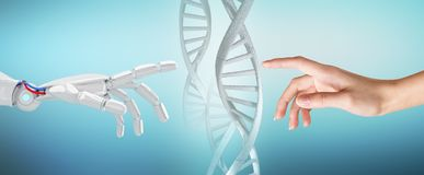 De robotachtige en menselijke ketting van DNA van handaanrakingen Royalty-vrije Stock Foto