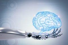 De robotachtige hersenen van de handholding Stock Fotografie