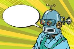 De robotarbeider in schort zegt, de grappige boekbel royalty-vrije illustratie