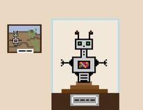 De robotonderzoeker bevindt zich op het voetstuk, als museumtentoongesteld voorwerp Stock Afbeelding