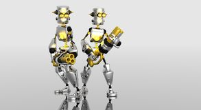 De robots van het beeldverhaal met kanonnen Stock Foto