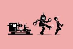 De robotwerktuigkundige schopt weg een menselijke technicusarbeider van het doen van zijn werk bij fabriek Stock Afbeelding
