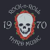 De rockdruk, rots - en - rolt zegel met schedel en nam toe vector illustratie