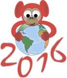 De rode aap omhelst de wereld, het symbool van 2016 Royalty-vrije Illustratie