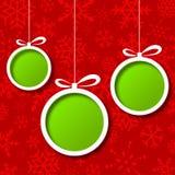 De rode abstracte achtergrond van Kerstmisballen Stock Foto's
