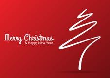 De rode abstracte vrolijke lijn van de Kerstmisboom Royalty-vrije Stock Afbeelding