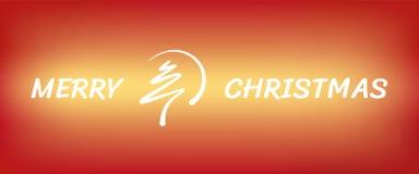 De rode abstracte vrolijke lijn van de Kerstmisboom met cirkelbanner Stock Foto's