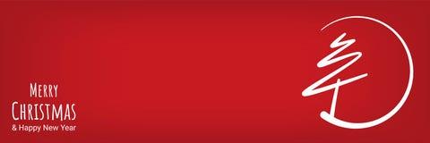 De rode abstracte vrolijke lijn van de Kerstmisboom met cirkelbanner Stock Afbeeldingen