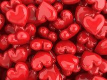 De rode achtergrond van de hartenvalentijnskaart Royalty-vrije Stock Afbeeldingen