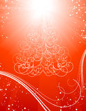 De rode achtergrond van de Kerstboom met sterren Stock Afbeeldingen
