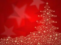 De rode achtergrond van de kerstboom met sterren Stock Fotografie