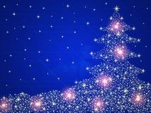 De rode achtergrond van de kerstboom met sterren en licht Stock Foto