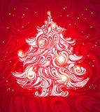 De rode achtergrond van de Kerstmisboom stock illustratie