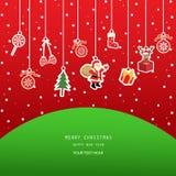 De rode achtergrond van de Kerstmiskaart royalty-vrije illustratie