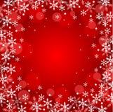 De rode achtergrond van de Kerstmissneeuw Stock Illustratie