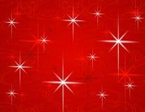De rode Achtergrond van de Sterren van Kerstmis Royalty-vrije Stock Fotografie
