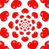 De rode achtergrond van de hartenoneindigheid stock illustratie