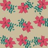 De rode achtergrond van het bloempatroon Stock Foto