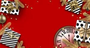 De rode achtergrond van 2018 met giften en klok Vector Illustratie