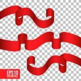 De rode activa van lintlement voor decoratie Stock Afbeeldingen