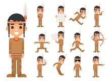 De rode Amerikaanse Traditionele Inheemse Stammen Indische Jongen van de Cultuurveer in Verschillend stelt en van de Actiestiener stock illustratie