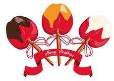De rode appel in karamel en chocolade en snoepje bestrooit met stok daarin Eenvoudige Vectorillustratie op witte achtergrond Stock Afbeelding