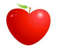 De rode appel van het valentijnskaarthart die op witte achtergrond wordt geïsoleerd Symbool van liefde, het leven, gezondheid en  Stock Afbeelding