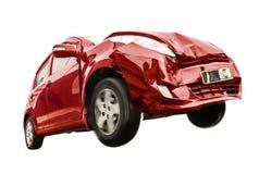 De rode auto heeft de voorzijde beschadigd royalty-vrije stock afbeeldingen