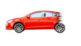 De rode auto isoleert Overgang met deeltjes AUTOconcept het 3d teruggeven Royalty-vrije Stock Foto's