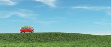 De rode auto omhoog de heuvel Stock Afbeelding