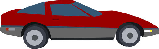 De Rode Auto van het beeldverhaal Royalty-vrije Stock Afbeeldingen