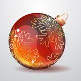 De rode bal van glasKerstmis die op wit wordt geïsoleerd Royalty-vrije Stock Fotografie