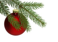 De rode Bal van Kerstmis Stock Afbeeldingen