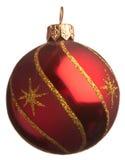De rode bal van Kerstmis met gouden sterren Stock Afbeelding