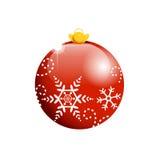 De rode bal van Kerstmis met vlokken stock illustratie