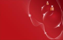 De rode bal van Kerstmis twee op een rode achtergrond Stock Foto's