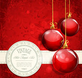 De rode ballen van het uitstekende Nieuwjaar de achtergrond en Stock Afbeeldingen