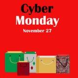 De Rode Banner van de Cybermaandag met het Winkelen Zakken 27 November Royalty-vrije Stock Fotografie