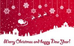 De rode banner van Kerstmis en van het Nieuwjaar met de Kerstman Royalty-vrije Stock Afbeelding
