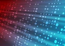 De rode blauwe glanzende abstracte achtergrond van technologie met cirkeldeeltjes royalty-vrije illustratie