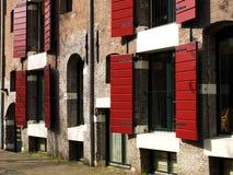 De rode blinden van Amsterdam stock afbeelding