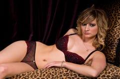 De rode Blonde van de Lingerie Royalty-vrije Stock Foto's
