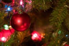 De rode Bol van Kerstmis met Gekleurde Lichten op Boom Royalty-vrije Stock Afbeeldingen