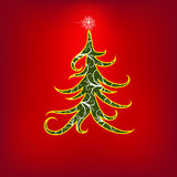 De rode boom van Kerstmis swirly met bloemenelementen Royalty-vrije Stock Afbeeldingen