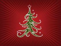 De rode boom van Kerstmis swirly met bloemenelementen Stock Foto