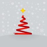 De rode boom van lintKerstmis. Stock Afbeeldingen